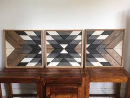 hand made geometric pallet wall hanging
