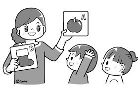 英語を学ぶ幼児と先生モノクロ 子供と動物のイラスト屋さん