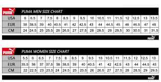 Puma Shoe Size Chart Men 55 Timeless Puma Women Size Chart