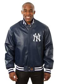 new york yankees mens navy blue all leather jacket heavyweight jacket image 1