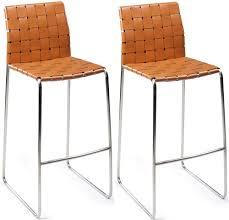 bond orange regular leather bar stool with stainless steel legs pair