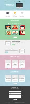 Single Page Website Design Template Free Psd Template Flat One Page Website One Page Website