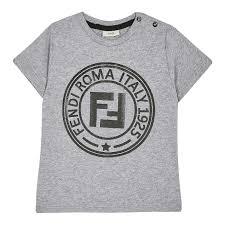 Fendi - Gray Logo Motif T-Shirt | Level Kids