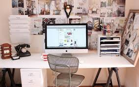 inspiring home office organization design with white wooden desk and small drawer plus mounted file cabinet storage ideas