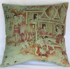 Fabric With Pictorial Design Thai Pictorial Pillow Cover Jim Thompson Fabric Jims Dream Weaving Scene