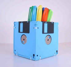 Idea office supplies Office Cubicle Floppy Disk Pen And Pencil Holder This Item Is Manufactured Out Of Sky Blue Recycled Michelle Paige Blogs 20 Fun And Creative Office Gift Ideas 2017