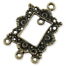 2 rectangle chandelier charms antique