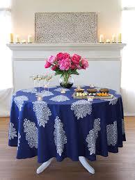 mood indigo modern navy blue white paisley round tablecloth