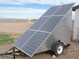 mobile off grid solar power system solar panels on the mobile off grid solar power system mounted on a trailer