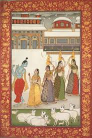 gujari ragini krishna with gopis playing the flute from a ragamala series