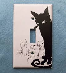 Decorative Light Switch Plates Retro Black Cat Light Switch Cover Single Or Double Switchplate