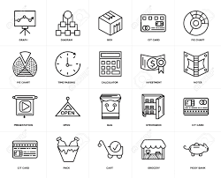 Grocery Chart Set Of 20 Icons Such As Piggy Bank Grocery Cart Pack Cit
