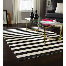 Home Interior:Great Living Room Decor With Black And White Striped Rug On  Dark Polished