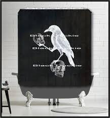 Crow holding Skulls on Chalkboard Shower Curtain - Nevermore art surreal odd  skull crow raven shower