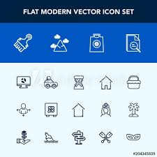 Gift Chart Template Modern Simple Vector Icon Set With Luggage Timer Retail