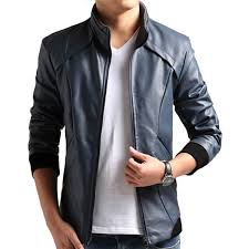 aslaan faux leather jacket for men s navy blue as06