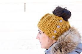 Free Crochet Hat Pattern With Ponytail Hole Interesting Cabledcrochetbunbeaniefreepattern48 Make Do Crew