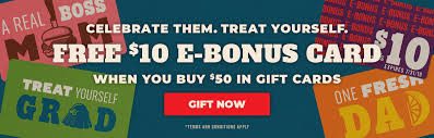 restaurant gift cards free 10 e bonus when you 50 in gift cards