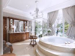 luxury bathroom furniture. Luxury Bathroom In Classic Style. With Jacuzzi, Shower And Furniture. 3D Furniture E