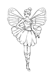 Barbie Fairy Coloring Page For Girls Printable Free Coloring