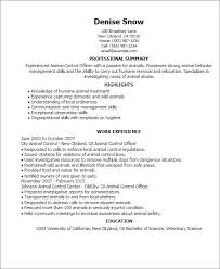 Resume Templates: Animal Control Officer