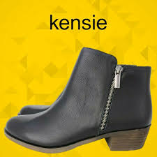 kensie women s black leather ghita short ankle boots 6 5 7 7 5 8