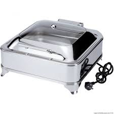 kgd202 square chafing dish with glass lid and electric warmer