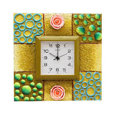 decorative square shaped wall clock