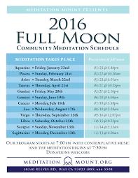 2016 Full Moon Schedule Meditation Mount