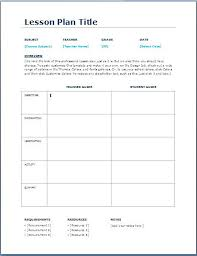 Free Lesson Plans Templates For Elementary Teachers Plan Template ...