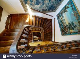 Old House Staircase Design Wooden Spiral Staircase In Old House Stock Photo 216827705