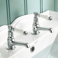classic bathroom fittings regal twin hot amp cold traditional chrome lever basin sink taps
