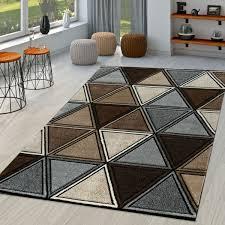 Kurzflor Teppich Gecarvt Geometrisch Braun