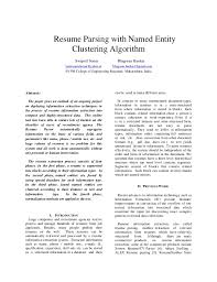Resume Parsing Interesting Resume Parsing With Named Entity Clustering Algorithm