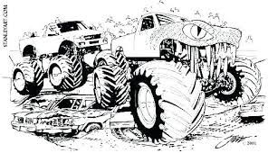 Monster Truck Coloring Pages To Print Page Printable Jam Blaze