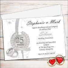 25th wedding anniversary invitation cards templates free s business anniversary invitation template exle business