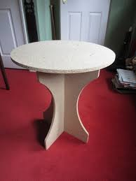 4 x round chipboard bedside or occasional display tables