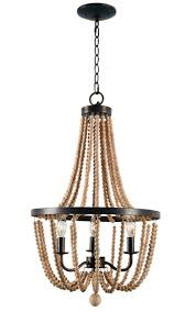 wooden beaded chandelier with bronze accents 16 x 28
