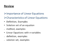 review importance of linear equations