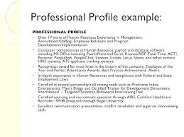 Example Of A Profile For A Resumes Professional Profile Resume Samples Examples For A Breathelight Co