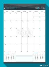 Template Monthly Calendar October 2016 Vector Design Print Template Monthly Calendar Planner