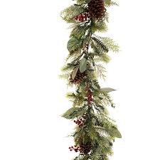Garland With Lights Lowes Village Lighting Outdoor Pre Lit 9 Ft Mixed Needle Garland
