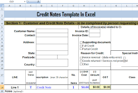 Sample Credit Note Invoice Credit Notes Template In Ms Excel Format Exceltemple