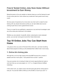 Easiest Online Jobs Free Tested Online Jobs From Home Without Investment To