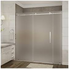 frameless frosted glass shower doors. Aston Moselle Frameless Frosted Glass Sliding Shower Door Chrome Finish With Base And Right Drain Amazon Doors I