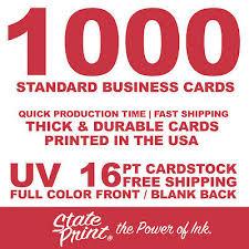 1000 Full Color Front Blank Back Uv 16pt Business Cards Free