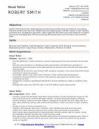 Bank Teller Description For Resumes Head Teller Resume Samples Qwikresume
