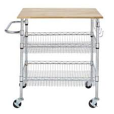 kitchen utility cart. Gatefield Chrome Large Kitchen Cart With Rubber Wood Top Utility