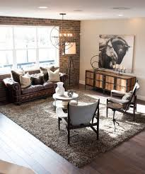 Living Room: Industrial Living Room With Brick Wall Accents - Living Rooms