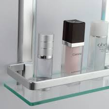 bathroom tempered glass shelf: kes bathroom  tier glass shelf with rail aluminum and extra thick tempered glass shower shelving rectangular